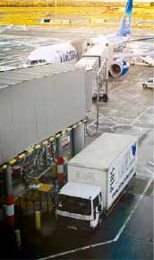 Pluscrates truck at airport